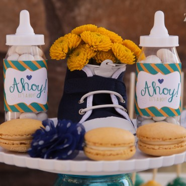 Custom touches for a baby shower hosted at a local restaurant.