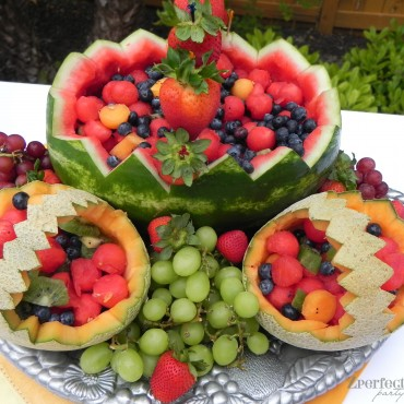 Beautiful summer fruit takes center stage on the buffet table.
